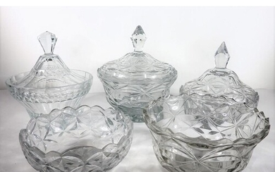 Three cut-glass bowls and covers and two flat-cut bowls