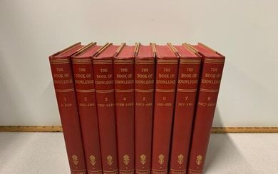 Volumes 1-8 of The Book of Knowledge Encyclopaedia set.