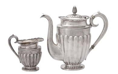 Y A Russian silver ovoid coffee pot and matching cream jug