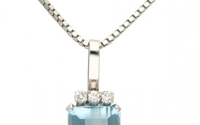 14K. White gold venetian link necklace and pendant set with approx. 0.54 ct. diamond and...