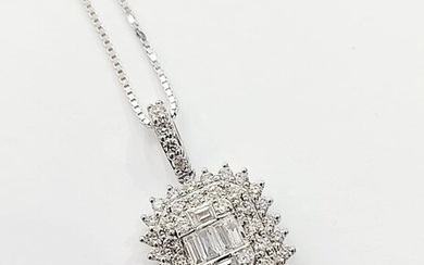 18 kt. White gold - Necklace, Necklace with pendant - 1.33 ct Diamond - Diamond