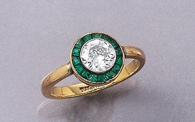 18 kt gold Art-Deco ring with diamond...