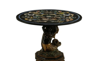 19th Century Venetian Carved and Painted Wood Table
