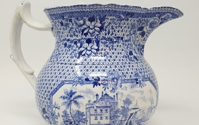 A 19th century Staffordshire blue and white jug, 18 cm high