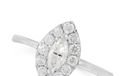 A DIAMOND DRESS RING in 18ct white gold, set with a