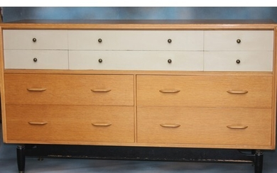"""A G-Plan """"China White"""" range sideboard, blond oak and painte..."""