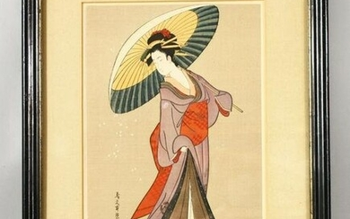A JAPANESE WOODBLOCK PRINT depicting standing female