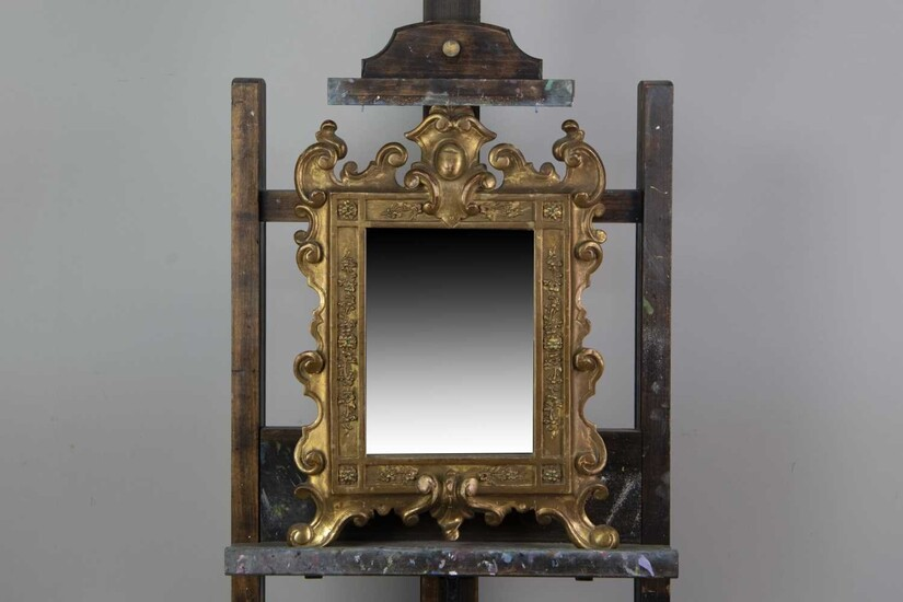 A PAIR OF 19TH CENTURY GILT-WOOD UPRIGHT WALL MIRRORS