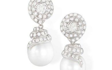 A PAIR OF CULTURED PEARL AND DIAMOND PENDENT...