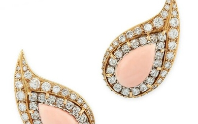A PAIR OF VINTAGE CORAL AND DIAMOND CLIP EARRINGS in