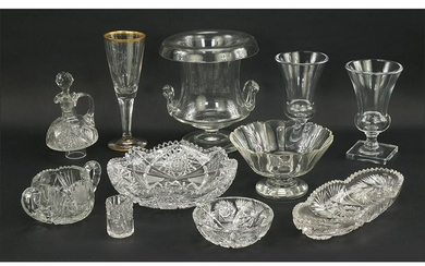 A Pair of Clear Glass Vases.