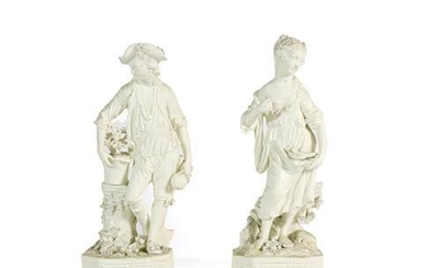 A Pair of Derby Bisque Porcelain Figures of Earth and...