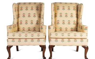 A Pair of George II Style Mahogany Wingback Chairs