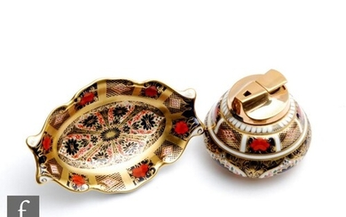 A Royal Crown Derby table lighter decorated in the Imari 112...