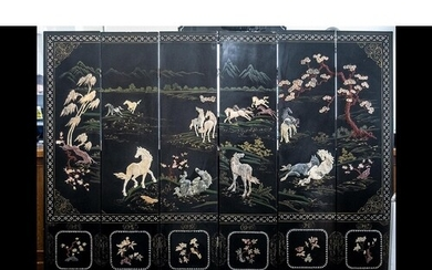 A Six Panel Chinese Lacquered and Hardstone Applied Screen d...