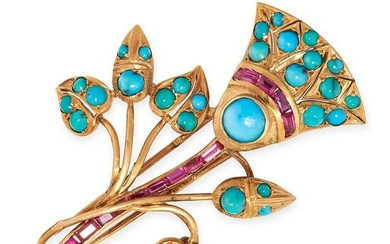 A VINTAGE TURQUOISE AND SYNTHETIC RUBY BROOCH in 14ct
