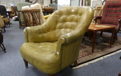 A Victorian leather 'tub' Armchair, with button back pale gr...