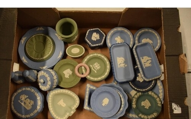 A collection of Wedgwood Jasperware to include vases, trinke...