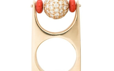 A diamond, coral and fourteen karat gold ring