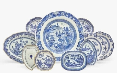 A group of ten assorted Chinese Export porcelain blue