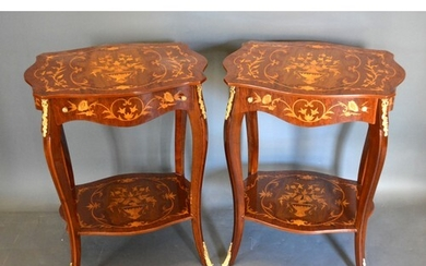 A pair of French style gilt metal mounted two tier occasiona...