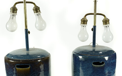 Pair of Japanese stoneware hibachi, converted to lamps