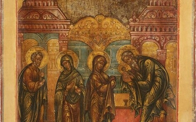 AN ICON SHOWING THE PRESENTATION OF CHRIST TO THE