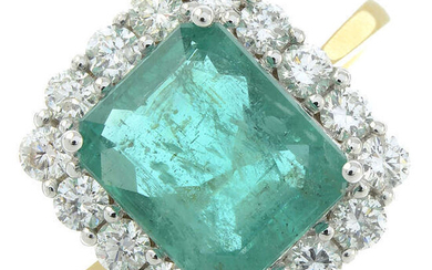 An 18ct gold emerald and diamond square-shape cluster ring.