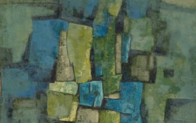 An abstract compisition. Oil on cancas. Signed and...