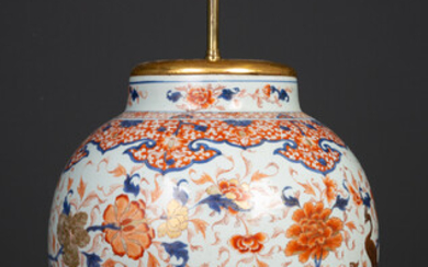 An antique porcelain large baluster jar converted to a table...