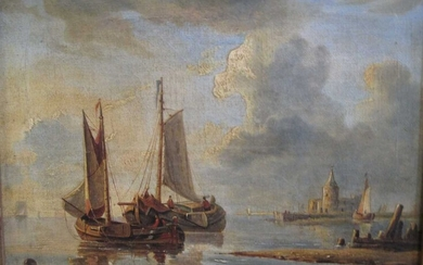 Anglo-Dutch School, late 18th/early 19th Century, River scene with barges and a castle, oil on