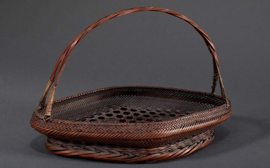 "Bamboo Ikebana handle basket ""hanakago"" in flat rhombus form, bottom..."