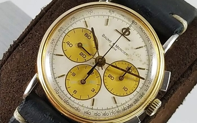 Baume & Mercier - NO RESERVE PRICE - Tri-compax Chronograph Lemania Gold Bezel - 1830 - Men - 1980-1989