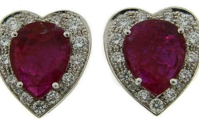 Certified Natural No-Heat Heart Ruby White Gold