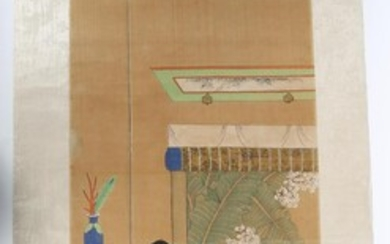 Chinese Interior Scene Painting, Colored Ink on Silk, 19th C. A9WBP