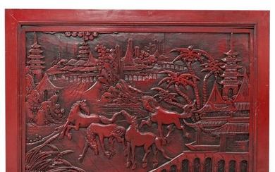 Chinese Red Lacquered Wood Carving Wall Plaque