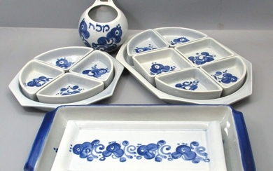 Collection of 5 Israeli Ceramic Dishes Made by Lapid, Arabesque Pattern