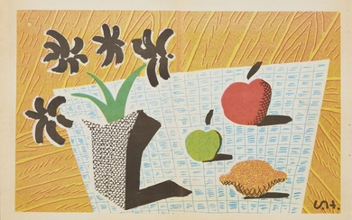 David Hockney OM CH RA, British b.1937- Two Apples, One Lemon and Four Flowers, 1997; photolithograph in colours on newspaper, initialled in the plate, published by The Independent Newspaper, sheet 57.6 x 37cm (unframed) (ARR)