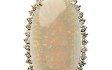 Diamond Australian Opal Ring 14K Gold Cocktail Vintage