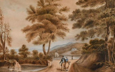 English School circa 1819, Figures and a horse resting