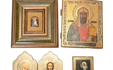 Four Eastern Orthodox Icons, Including Painted Wood and