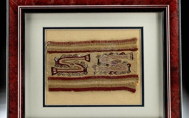 Framed Chancay Polychrome Textile Panel w/ Zoomorphs