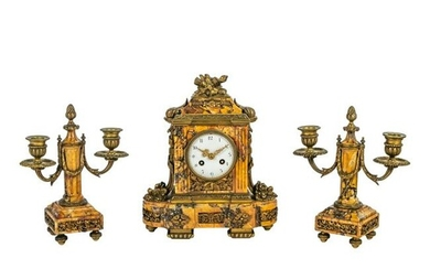 French Bronze Mounted Marble Clock & Candlesticks