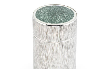 GERALD BENNEY: a silver and enamel cigar canister