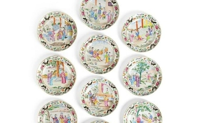GROUP OF TEN FAMILLE ROSE 'LADY'S LIFE' DISHES QING