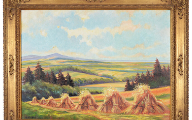 HEINZ LESSENTIN. View over a wide landscape towards the Steinhuder Meer. Oil on canvas.