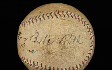 Important July 14, 1920 Babe Ruth Autographed and Inscribed Baseball Attributed to 28th Home Run (Lefty O'Doul Provenance)