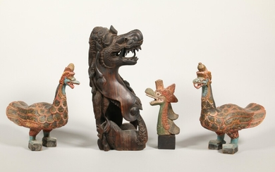 Indonesia, Bali, four carved mythological beings; one of coromandel wood