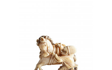 Ivory netsuke of a monkey entertainer dressed as a court servant restraining a horse, signed Japan, Meiji period (1868-1912) This…Read more