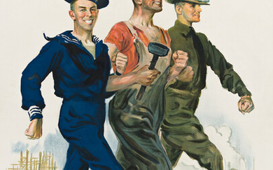 JAMES MONTGOMERY FLAGG (1870 1960) TOGETHER WE WIN Circa 19